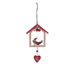 Casinha com pássaro e coração para pendurar em madeira F359584
