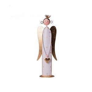 Anjo branco com asas e coroa ouro em metal P F359615