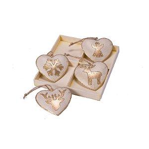 Caixa com 04 corações sortidos branco e ouro em metal F359621