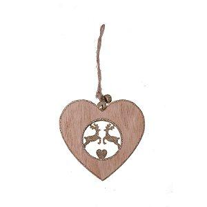 Coração com renda ouro para pendurar em madeira F359634