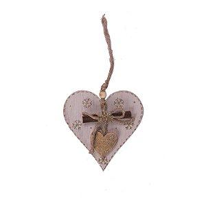 Coração branco com detalhes ouro e tronco para pendurar F359638