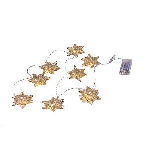 Estrelas douradas em metal com luzinhas led F359647