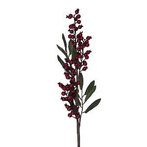 Galho berries vermelhos com folhas verdes G200625
