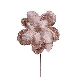 Magnolia rosê veludo com pedrarias G200644