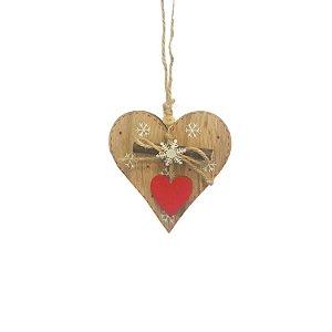 Coração com tronco e estrela de neve em madeira F359586