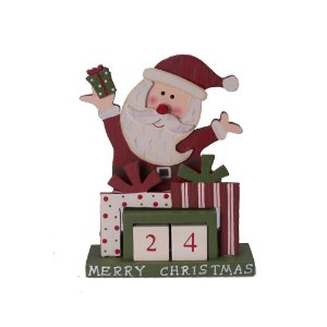 Calendário Papai Noel com Presentes Vermelho em Madeira