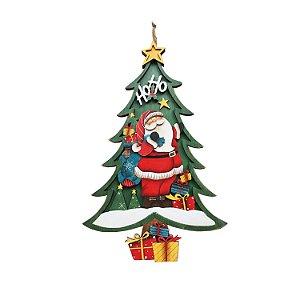 Árvore de natal em madeira verde com papai noel M F350872