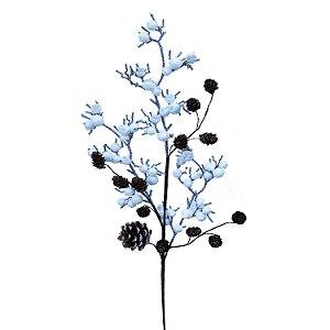 Galhos com berries brancos nevados e pinhas G200757