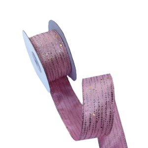 Fita aramada rosa com salpiques gliterados A100694