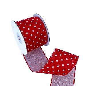 Fita aramada vermelha com poá branco A100720