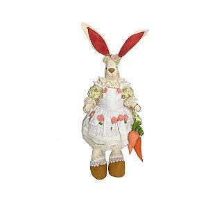 Coelha de pano com vestido bordado A300010