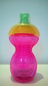 Copo grande com tampa click lock rosa/amarelo