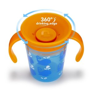 Copo treinamento 360 Deco Azul/laranja Baleia