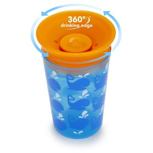Copo grande 360 Deco Azul/laranja Baleia
