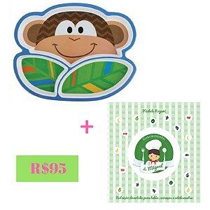 KIT PROMOCIONAL Livro de receitas- Gourmetzinho do Miguel + Prato macaco Stephen Joseph
