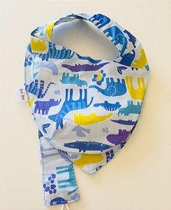 Babador Bandana azul claro animais