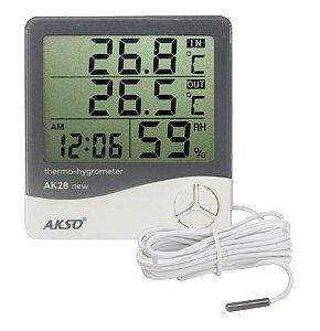 Termo-Higrômetro Digital com Sensor Externo e Relógio - AK28 new