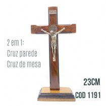 CRUCIFIXO MADEIRA SÃO BENTO - 23CM