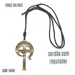 CRUZ METAL RCC VENI CREATOR SPIRITUS OURO VELHO