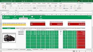 Planilha de Cálculo de Fretes Cubados por Caminhão em Excel 6.0