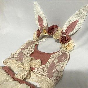 Kit tapa fralda e cropped de linho salmão antigo e headband floral Lara