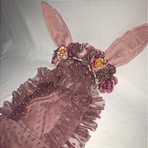 Kit macacão frufru uva e headband floral Maju