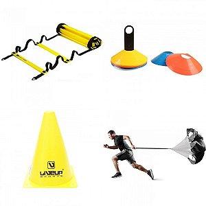 Kit de Treinamento Agilidade + Velocidade (cones, ladder e paraquedas)