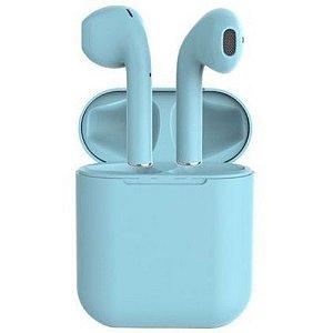 Fone De Ouvido Sem Fio Bluetooth 5.0 i12 TWS Azul Touch True Wireless Stereo