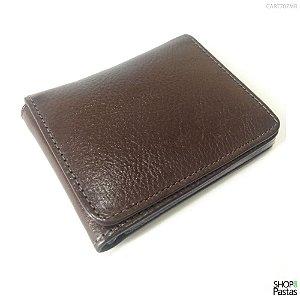Carteira de Bolso em Couro Legítimo Marrom CART707MR