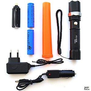 Lanterna Swat Multifunção Recarregável com Zoom Bastão Sinalizador SOS FS608