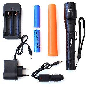 Lanterna Tática Recarregável Zoom Bastão Sinalizador SOS CREE VT9900