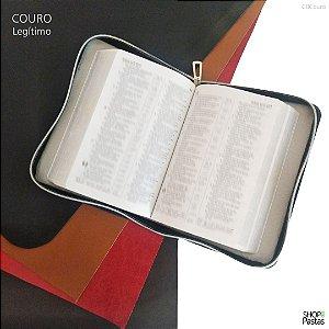 Capa para Bíblia de Bolso em Couro Legítimo com Zíper