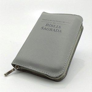 Capa para BÍBLIA MÉDIA Com Zíper e Inscrição - Cinza