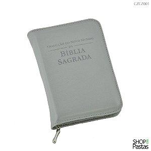 Capa para BÍBLIA de BOLSO Com Zíper e Inscrição - Cinza