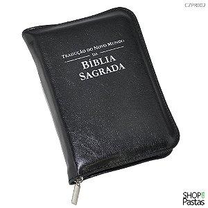 Capa para BÍBLIA MÉDIA Com Zíper e Inscrição - Preta