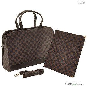 Conjunto - Bolsa e Pasta - Bag LV Xadrez Marrom - Cód.354
