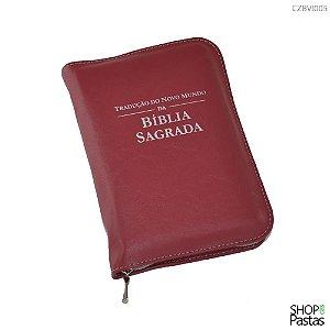 Capa para BÍBLIA de BOLSO Com Zíper e Inscrição - Vinho