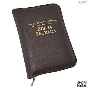 Capa para BÍBLIA MÉDIA Com Zíper e Inscrição - Marrom