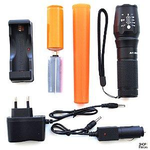 Lanterna Tática Recarregável com Zoom + Bastão Sinalizador SOS ZXB-X9