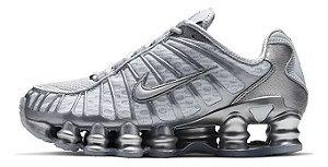 Tênis Nike Shox Tl 12 molas Neymar Jnr - Cinza e Prata