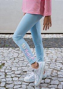 """Legging Infantil Azul Bebê Princess """"Quentinha"""""""