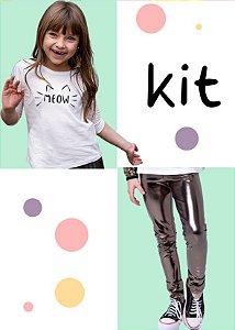 Kit Especial Dia das Crianças Legging Holográfica + T-shirt Meow