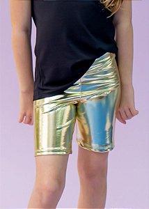 Bermuda Infantil Holográfica Dourada