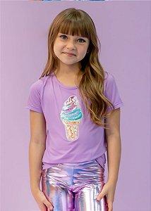 T-shirt em Crepe Lilás Com Aplicação Sorvete