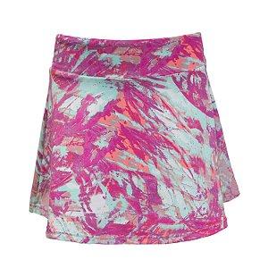 Shorts saia verde e rosa