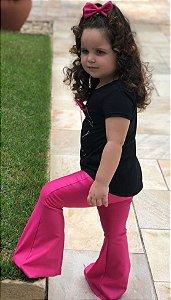 Flare Infantil Rosa Pink Cirrê Brilhante