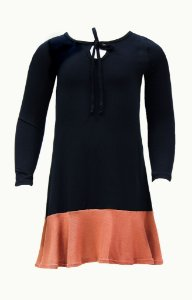 Vestido infantil preto com detalhe marrom