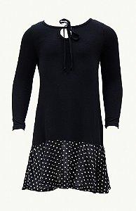Vestido infantil preto com poá branco