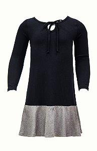 Vestido infantil preto com mescla