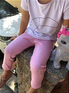 Legging infantil rosa efeito molhado